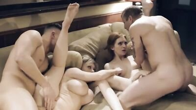 Horny stepmother with a stepfather knocked out his stepson and stepdaughter for group fucking