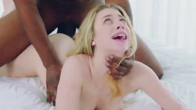 Passionate blonde in secret from the naive husband is constantly fried with the black giants