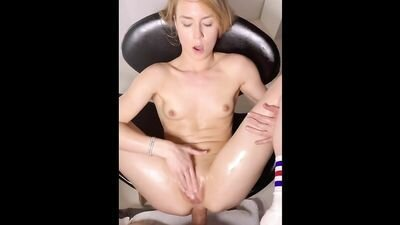 Cute blonde takes a big penis in the ass from boyfriend